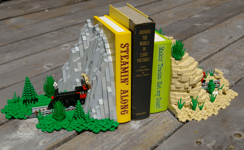 Lego Bookends Sport a Microscale Train