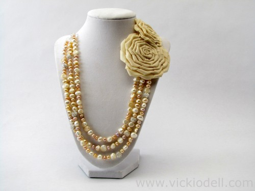 How-To: Freshwater Pearl Necklace with Asymmetrical Roses