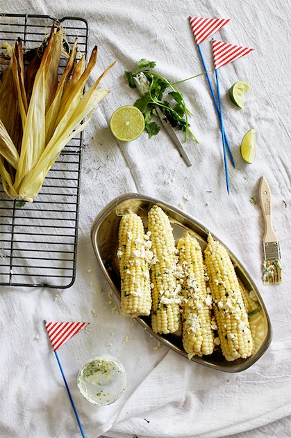 Recipe: Grilled Corn on the Cob with Cilantro Lime Butter and Feta