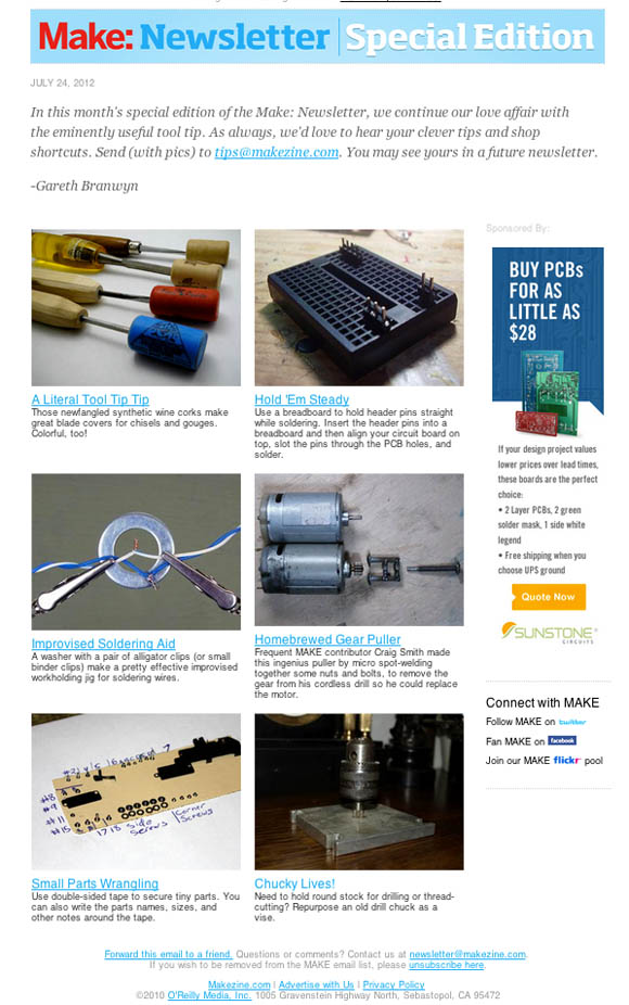 Make: Newsletter, Tool Tips Special Edition