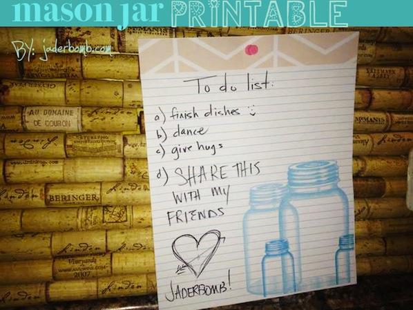 Mason Jar Notepaper Printable