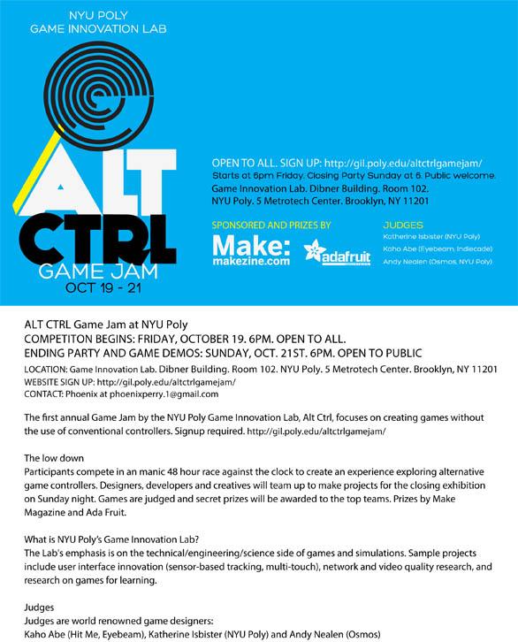 ALT CTRL Game Jam, NYU Poly, Oct 19-21