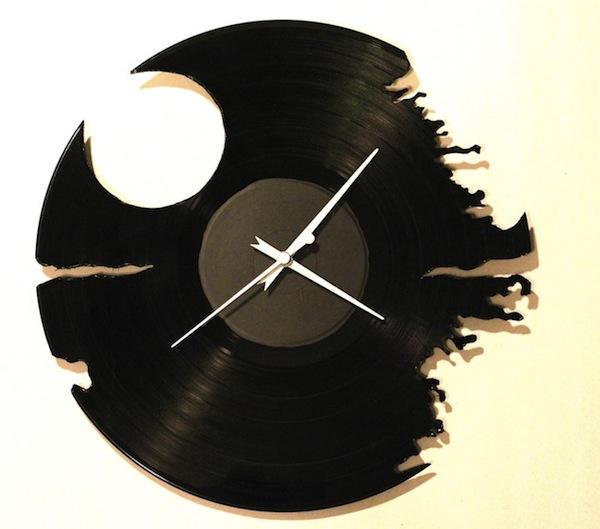 Hand-Cut LP Death Star Clock
