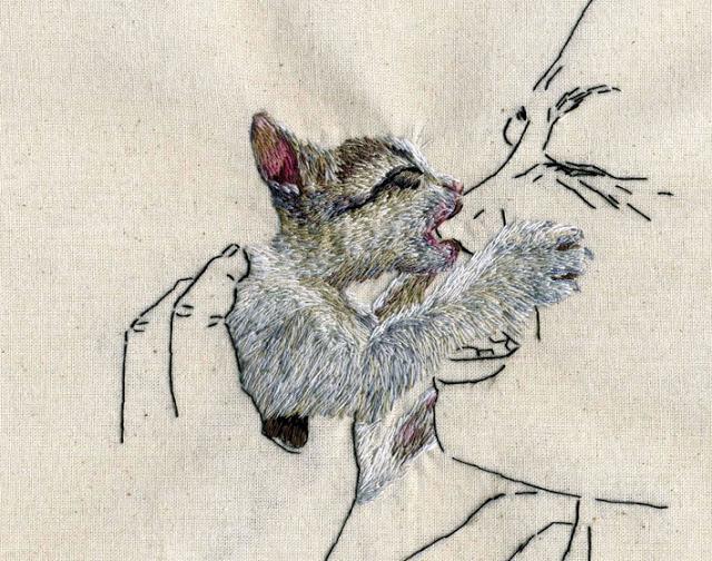 Grumpy Kitten Embroidery