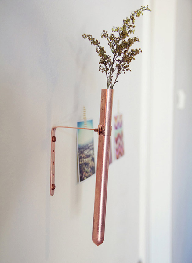 DIY Wall-Mounted Copper Bud Vase