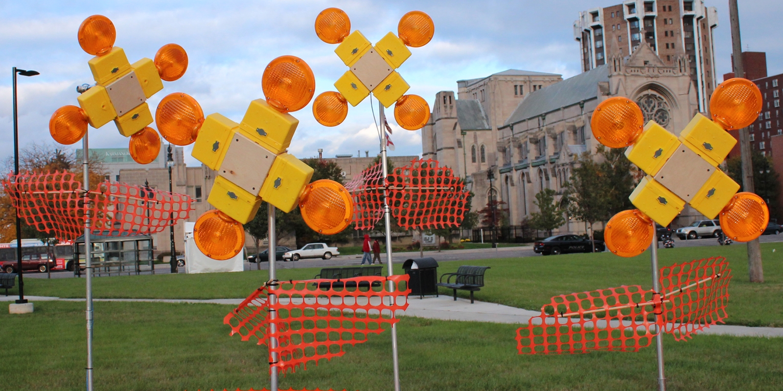 Construction Warning Lights Hacked into Flowers