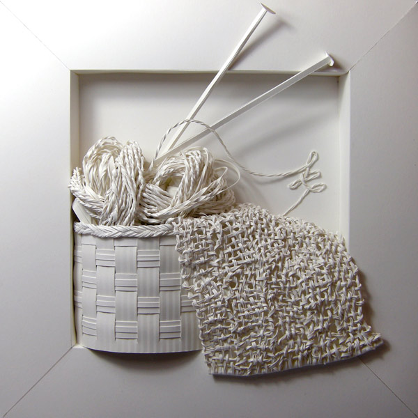 Knitting Sculpture from Paper and Glue