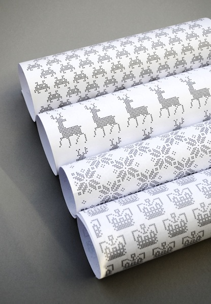 Printable Cross-Stitch Wrapping Paper