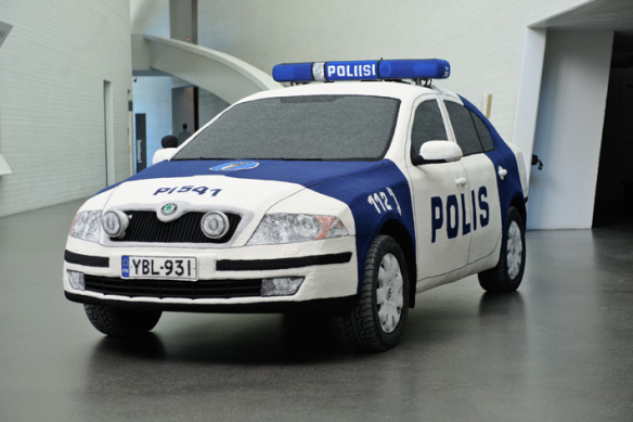 Hand-Crocheted Police Car Sculpture