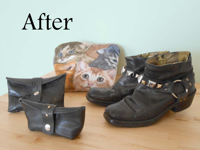 Boots Converted into Booties and Boot-Top Pouches