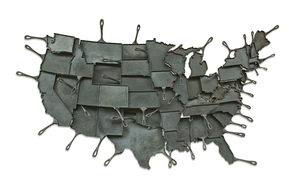 Cast Iron Skillet Map of the US Make