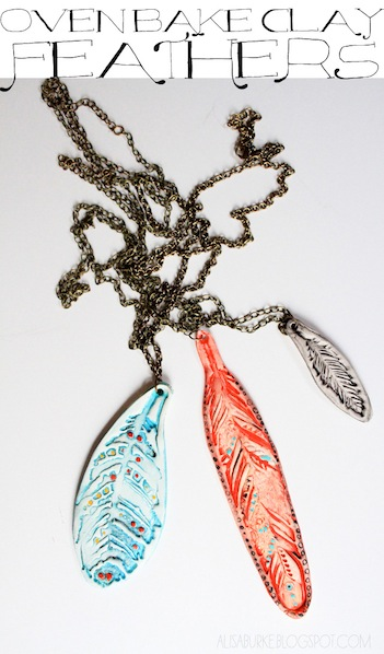 How-To: Oven Bake Clay Feather Necklaces