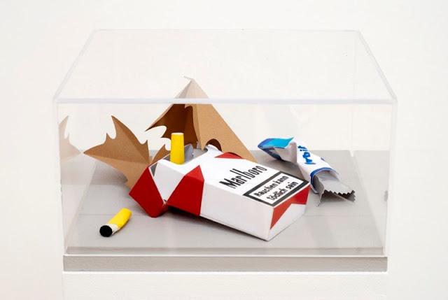 Papercraft Sculptures of Trash