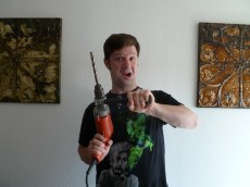 When using a high-powered hand drill such as this Milwaukee Magnum, be careful when drilling into dense or hard material, as the torque of the drill can actually rip it out of your hands. Use a right angle attachment if you have one, and grip the drill firmly, but not too tight. If the bit gets caught up as you're going, be prepared to let go -- it's the safest thing to do sometimes. I've sprained my wrist in such situations, and have known others to even break their wrists.