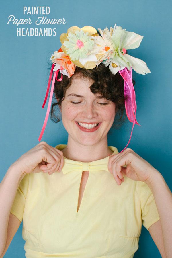 Painted Paper Flower Headbands