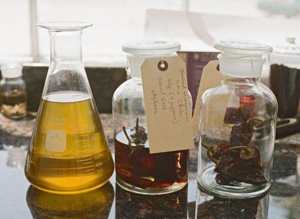 three glass bottles of rare ingredients