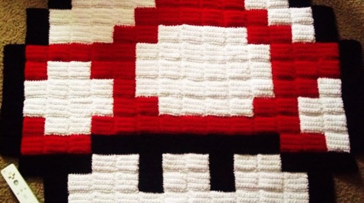 Crocheted 8-Bit Rugs