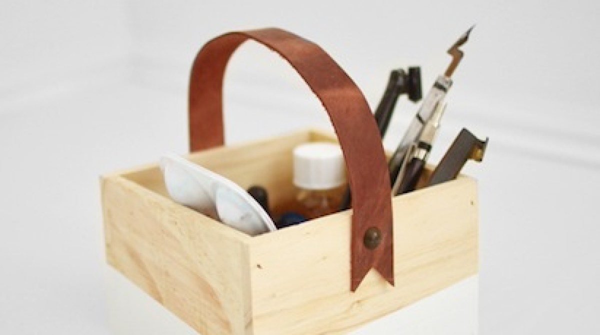 How-To: Leather Handled Wooden Box Organizer