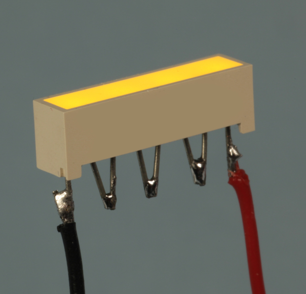 The 4 internal LEDs in a Lite-On LTL-2450Y light bar can be wired in series by bending the pins and soldering them together. Note the tiny notch in the plastic at the left end of the light bar, identifying its cathode (negative end).
