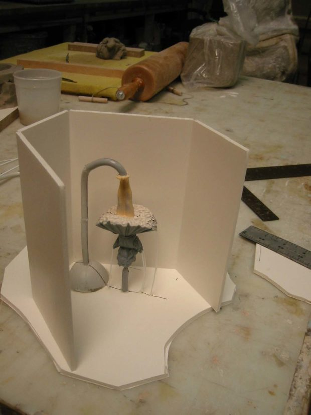 Fig. E: Building the mold box using a single piece of foamcore.