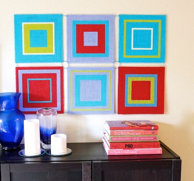 How-To: Modern Plastic Canvas Wall Art