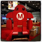 Makey stands ready for the Maker Faire masses.