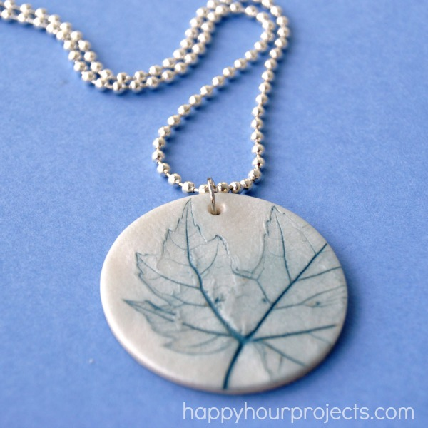 How-To: Leaf-Imprinted Clay Necklace