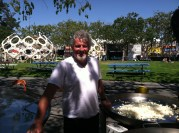 Gerard Nebesky prepares paellas for hundreds of hungry makers Friday night.