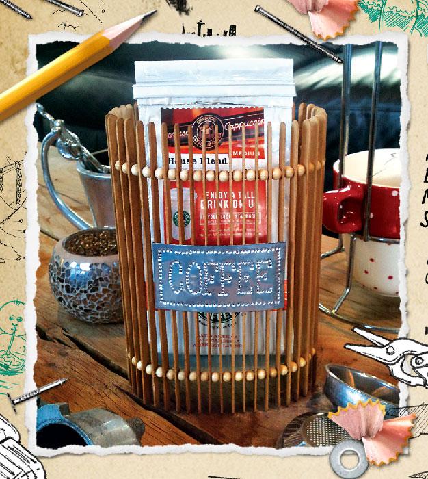 Coffee Holder Made From Coffee Stirring Sticks