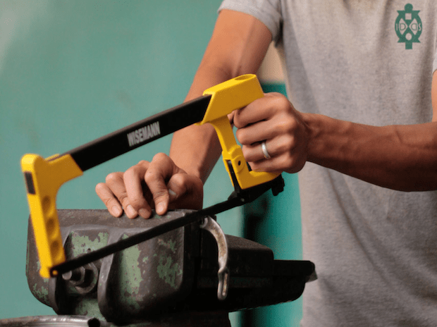 The hacksaw is THE saw to cut metal, but did you know it only cuts in one direction? Mount your blade so it cuts as you pull, and you'll get the most control and the best results.