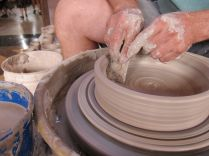 KC Clay Guild had a great elevated demo stage for their pottery wheel, bringing Brian's mesmerizing handiwork to eye level.