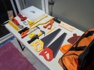 I laid out everything before Eva and Izzie arrived to show them all the tools and how they worked.