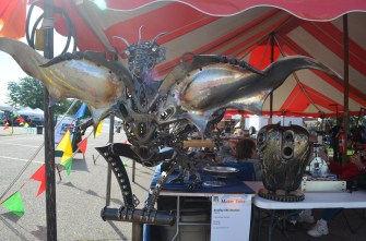 This dragon is big, but not as big as what Ron Gross has planned for an upcoming Michigan Art Event; he is going to make a dragon emerging from an egg that is in a river!