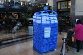A TARDIS, done in balloons.