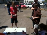 Zachary Lytle brought his Bot Bash mini arena for a little side show fun.