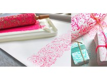 Lace Print Wrapping Paper — Beautiful patterns made from thrift store doilies, a rolling pin, and paint.