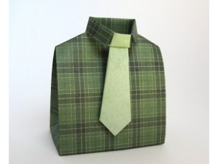Shirt and Tie Gift Bag — Paper, Scissors, Rock makes rad gift bags that look more like a clothing store display than a gift bag. Meta points for giving the gift of a shirt and tie inside the shirt and tie bag.