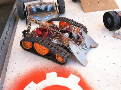 A detail shot of one of Zachary Lytle's Bot Bash bots.