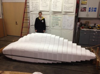 The rough outline of the car in foam.