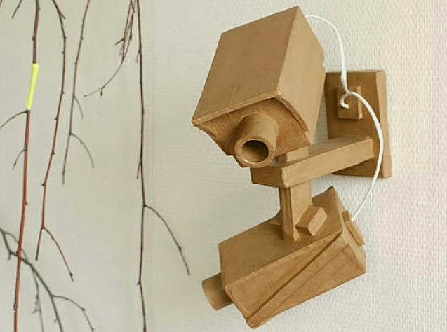 Survielance Camera Sculptures from Salvaged Cardboard