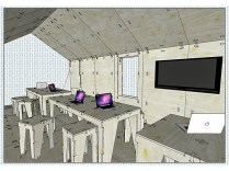 Interior view: A SketchUp learning area featuring furniture from AtFab and OpenDesk.