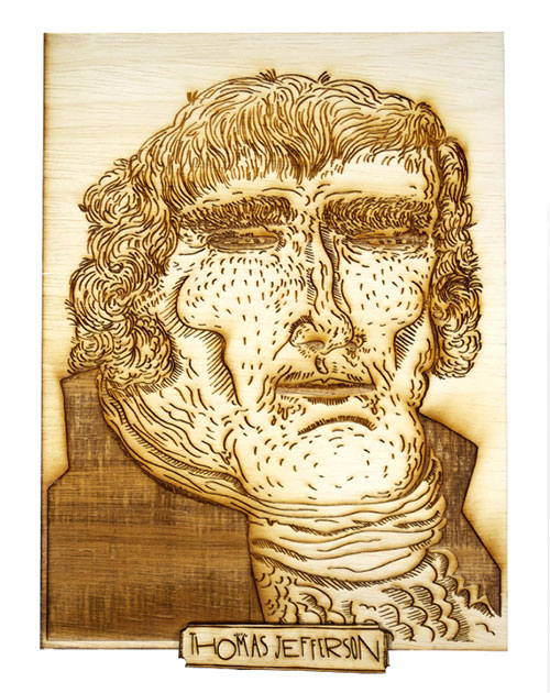 Wood Burned Portraits of U.S. Presidents