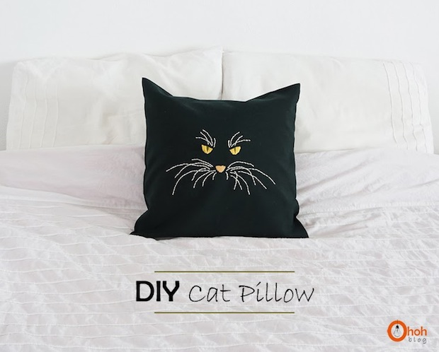 How-To: Embroidered Cat Pillow