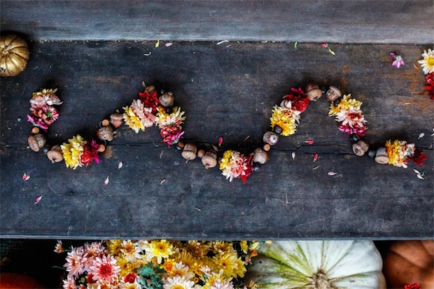 How-To: Fall Flower and Acorn Garland