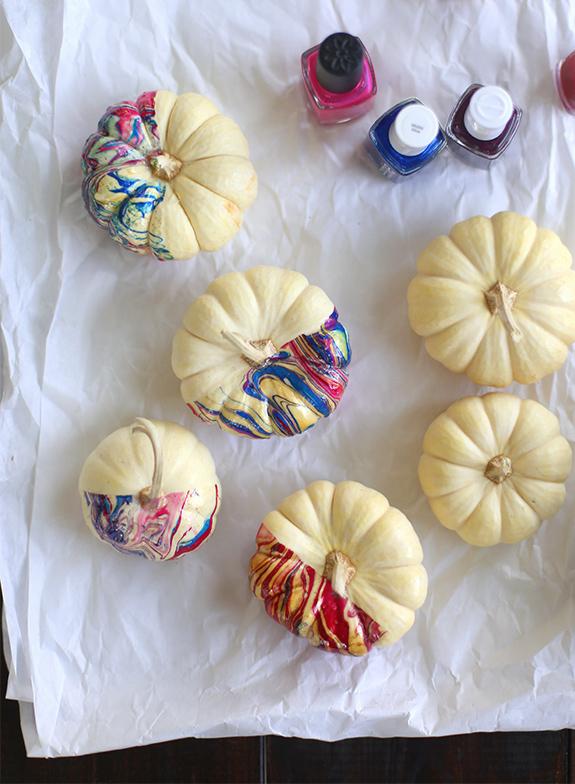 How-To: Nail Polish Marbled Pumpkins