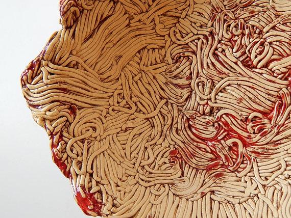 Ceramic Bowl Looks like It's Made of Spaghetti