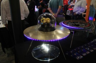 Mike Rivamonte built these UFO sculptures with ShiftBrite LEDs, then wrote a children's book about their adventures.