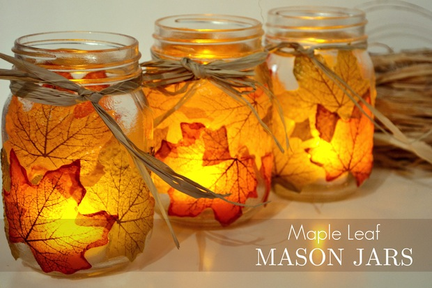 How-To: Autumn Leaf Mason Jar Candle Holders