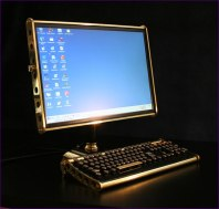 The brass and marble LCD and keyboard