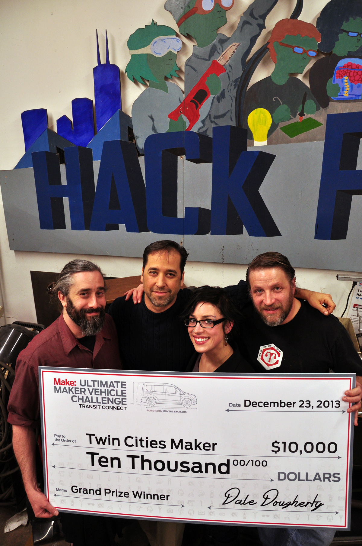 Presenting Twin Cities Maker with a K Check for their Hackmobile